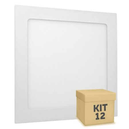 Kit 12 Luminária Plafon 18w LED Embutir Branco Quente