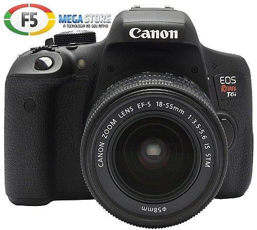Camera Canon EOS Rebel T6i Lente EF S 18 55MM IS STM 24.2 Megapixels