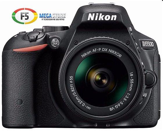 Camera Nikon D5500 Com Lente AF P DX 18 55mm VR 24.2 MP Wi Fi Expeed 4 Tela Touch