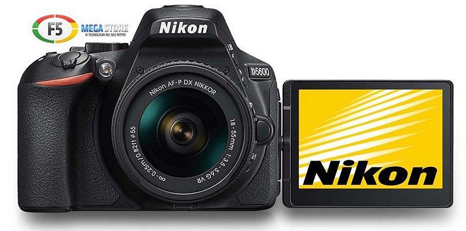 Camera Nikon D5600 Com Lente AF P DX 18 55mm VR 24MP Wi fi  Visor Touchscreen