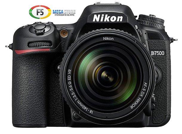 Camera Nikon D7500 Com Lente AF S DX 18 140mm VR Wi Fi 20.9MP 4K UHD Monitor Touch