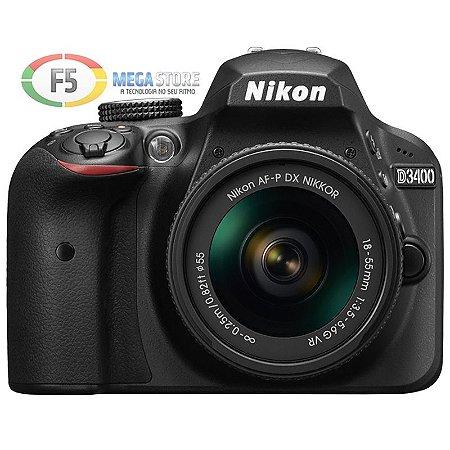 Camera Nikon D3400 Lente AF P 18 55mm 24 Megapixels Full HD
