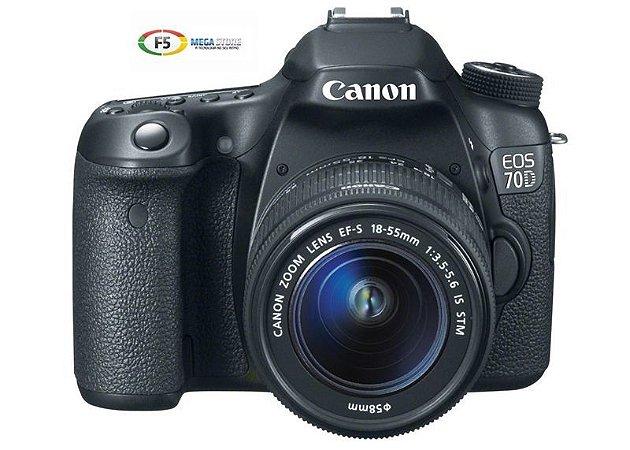 Camera Canon EOS 70D Com Lente EF S 18 55mm IS STM 20.2 Megapixels Full HD Wifi
