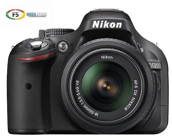 Camera Nikon D5200 com Lente 18 55mm VR DX 24.1 Megapixels Full HD
