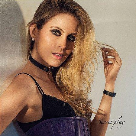 Coleira Choker em Couro com Argola Dourada - Celinna - Secret Play 14 mm