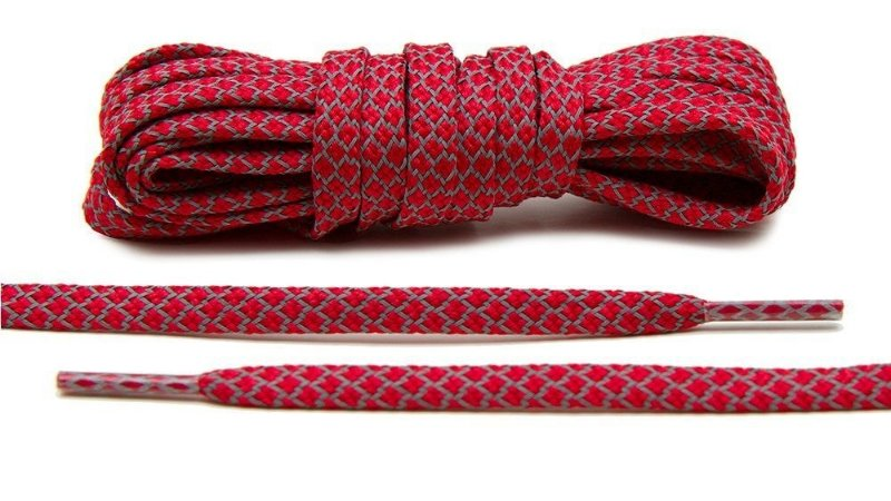 Cadarço Flat Refletivo - Vermelho - 125 cm
