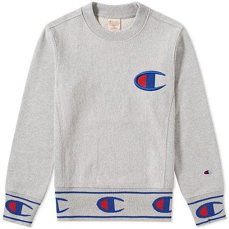 """CHAMPION - Moletom Reverse Weave Logo Hem """"Grey"""""""