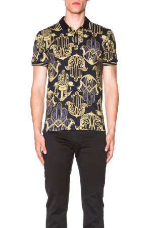 "VERSACE - Camiseta Polo Printed ""Black"""