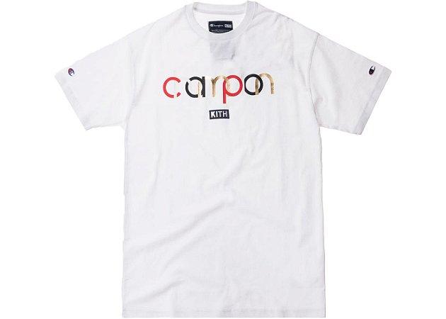 """ENCOMENDA - KITH X CHAMPION - Camiseta Double Script Logo """"White"""""""
