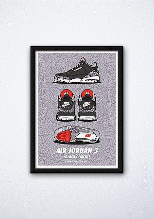 """POSTER - Air Jordan 3 """"Black Cement"""" (COM MOLDURA)"""