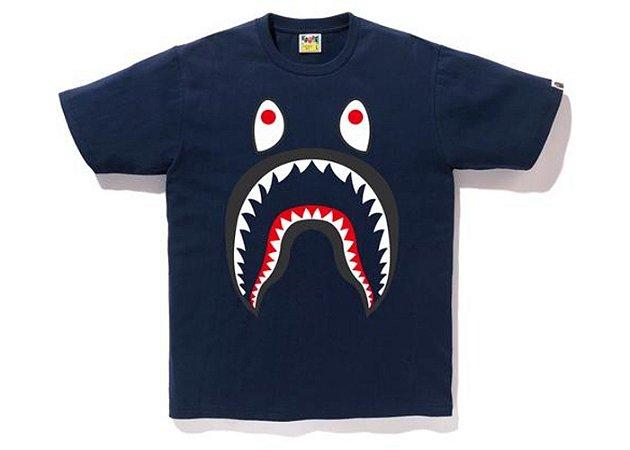 """BAPE - Camiseta Shark Ponr """"Navy"""""""