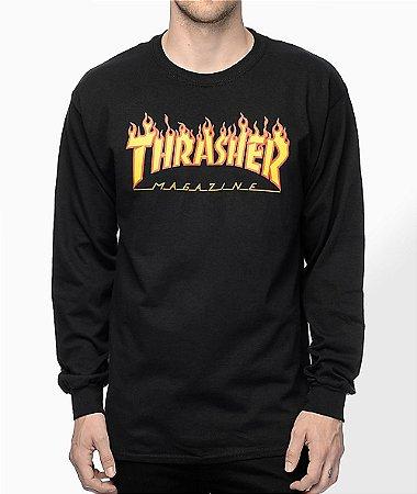 "THRASHER - Camiseta Manga Longa  Flame Logo ""Black"""