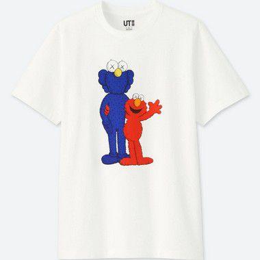 """UNIQLO X Kaws x Sesame Street - Camiseta Elmo and BFF """"White"""""""