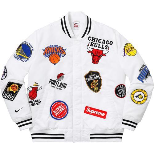 "SUPREME X NIKE X NBA - Jaqueta Satin Warm-Up ""White"""