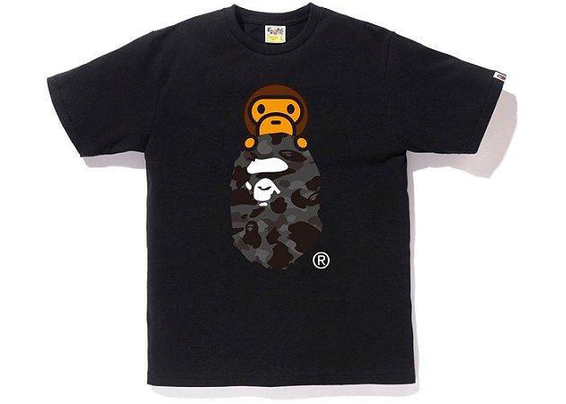 """BAPE - Camiseta Color Camo Milo on Ape Head """"Black/Black"""""""