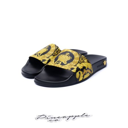 "Versace Chinelo Baroque Print ""Black"""