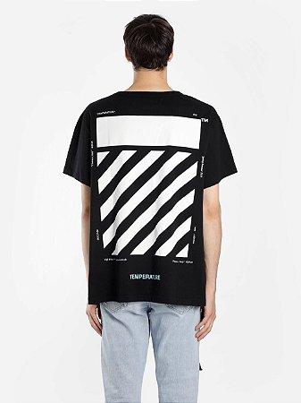 """OFF-WHITE - Camiseta Diagonal Temperature """"Black"""""""