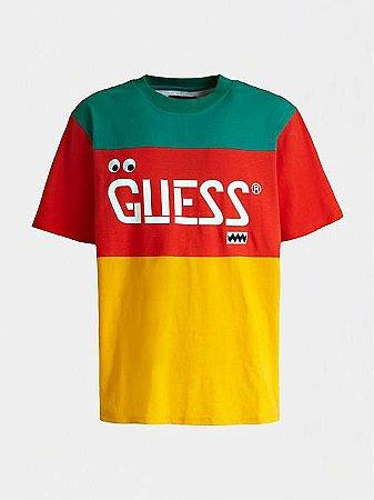 "ENCOMENDA - Guess x J.Balvin - Camiseta Logo Print ""Red/Orange/Green"""