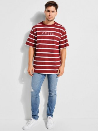 "ENCOMENDA- GUESS - Camiseta Stripe Motif Logo ""Burgundy"""