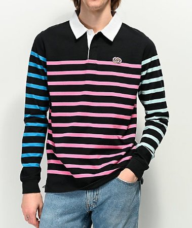 "ODD Future - Manga Longa Rugby Multicolor Striped ""Black"""
