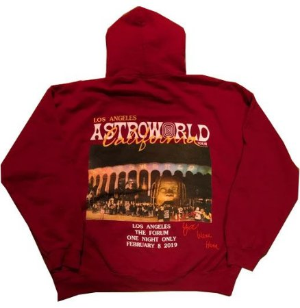 "TRAVIS SCOTT - Moletom Astroworld California ""Red"" -USADO-"