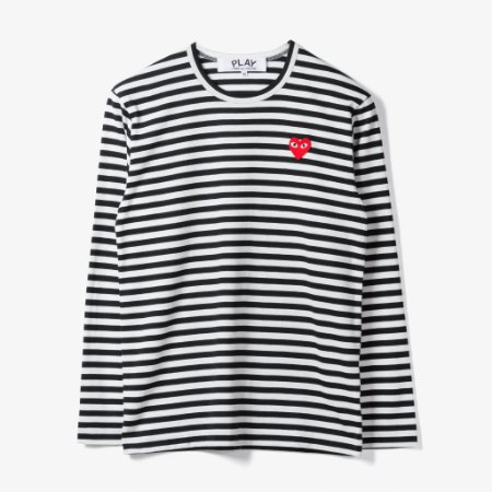 "COMMES DES GARÇONS PLAY - Camiseta Little Heart Stripe ""White/Black"""