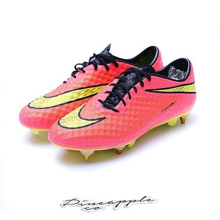 "Nike Chuteira Hypervenom Skin ""Crimson/Volt"" (Trava Mista)"