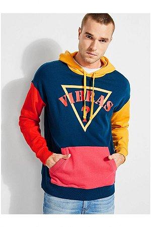 """Guess x J.Balvin - Moletom Collor Vibras Logo """"Navy/Yellow"""""""