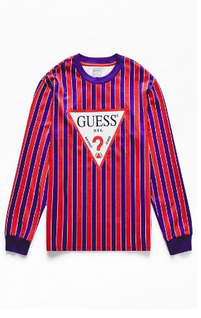 """GUESS - Camiseta Triangle Logo Striped """"Red"""""""