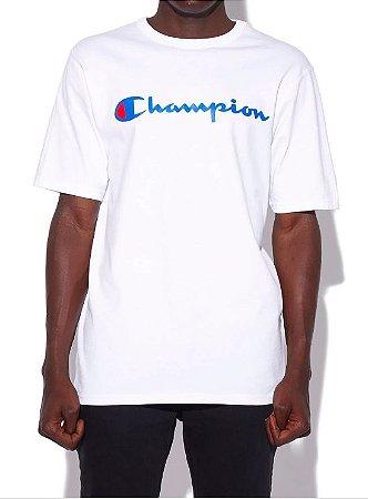 "CHAMPION - Camiseta Script Logo Silk Blue ""White"""