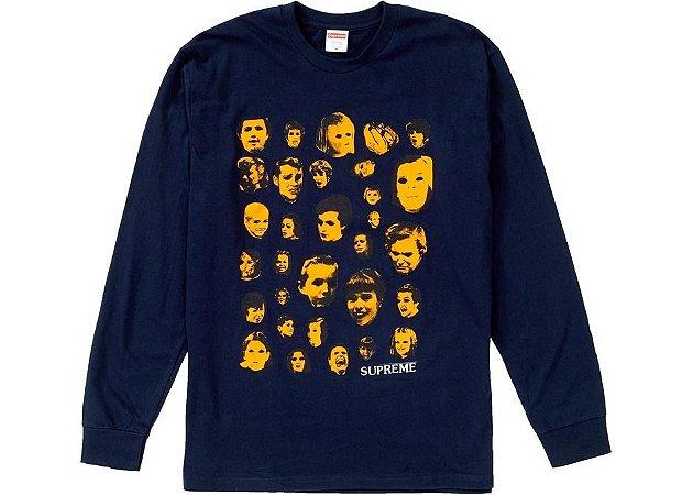 "SUPREME - Camiseta Manga Longa Faces ""Navy"""