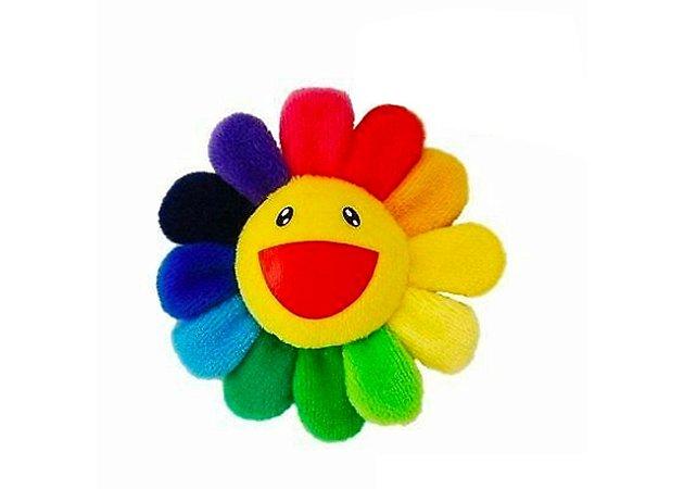 "KAIKAI KIKI - Pin Takashi Murakami Flower Plush ""Rainbow/Yellow"""