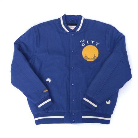 """MITCHELL & NESS - Jaqueta College Side The City Golden State """"Royal"""""""