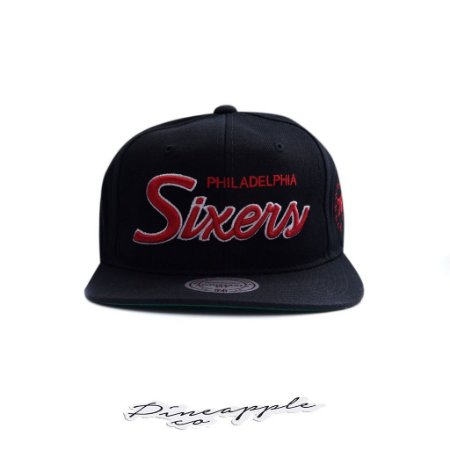 "MITCHELL & NESS - Boné NBA Foundation Script Sixers Philadelphia ""Black"""