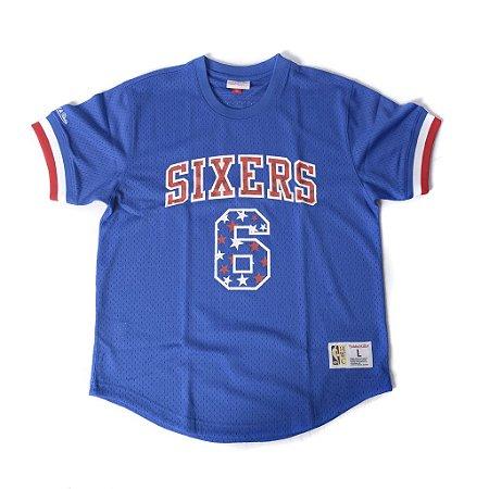 """MITCHELL & NESS - Camiseta 6 Sixers """"Azul"""" -NOVO-"""