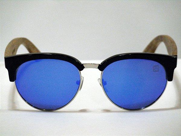 Maverick - PC/madeira/metal - Lente azul