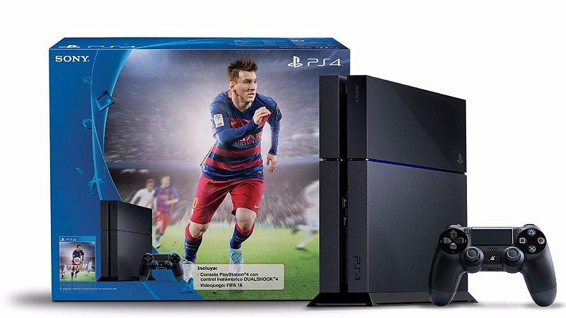 Console Playstation 4 - 500GB - Blu-Ray - FIFA mídia física Bundle