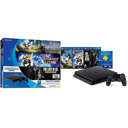 Playstation 4 Slim 500Gb - 3 Jogos (Horizon Zero Dawn, Ratchet & Clank, The Last of Us)