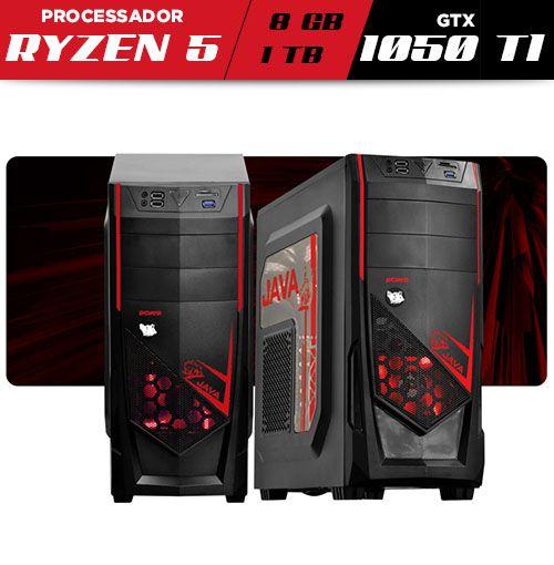 Computador Gamer V-Gamer Neutron - Ryzen 5 - AB350 - 1050Ti - 8Gb - 1Tb - 400w - Gabinete Java Vermelho