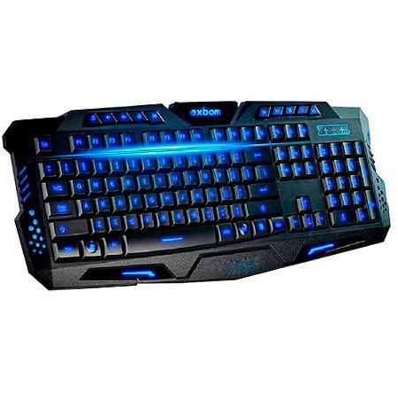 TECLADO GAMER COM FIO USB COM TECLA DE ATALHO E 3 CORES ILUMINAÇÃO:BK-G35