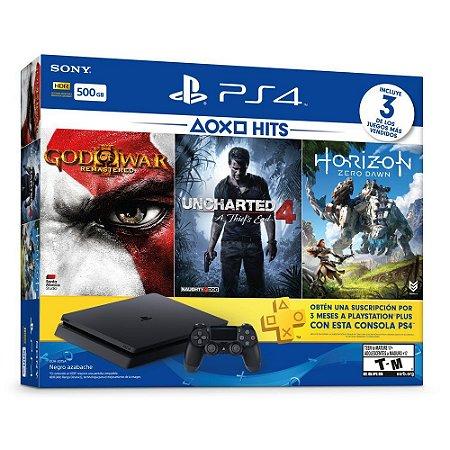 Playstation 4 Slim 500Gb - 3 Jogos (God of War 3, Horizon Zero Dawn e Uncharted 4) + 3 Meses de Plus
