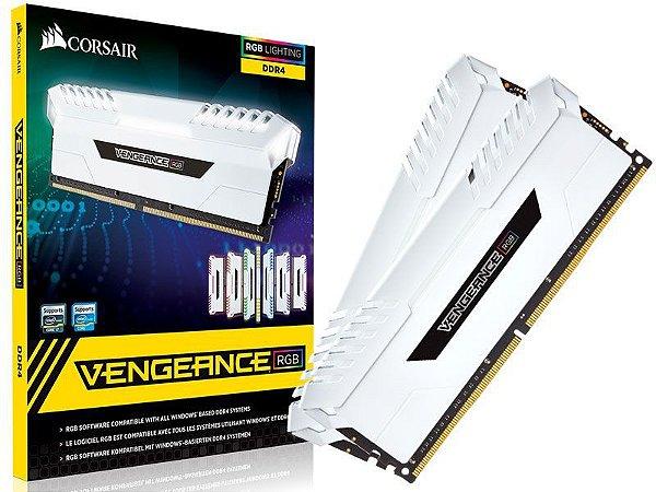 Mem Corsair Vengeance RGB 16GB(Kit 2x8GB)3000MHZ DDR4 Branco PN # CMR16GX4M2C3000C15W
