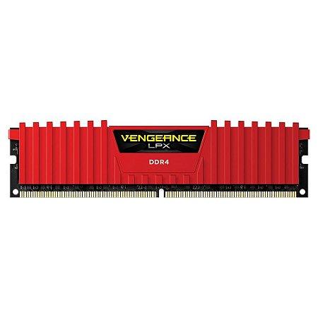 Mem Corsair Vengeance LPX 8GB 2400MHz DDR4 C16 DIMM Vermelha PN # CMK8GX4M1A2400C16R