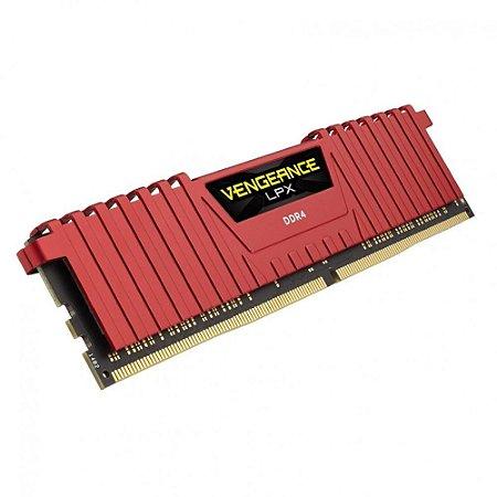 Mem Corsair Vengeance 8GB 2666MHz DDR4 C16 Vermelha PN # CMK8GX4M1A2666C16R