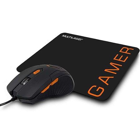 Combo Mouse 3200Dpi E Mousepad Gamer Laranja (05)