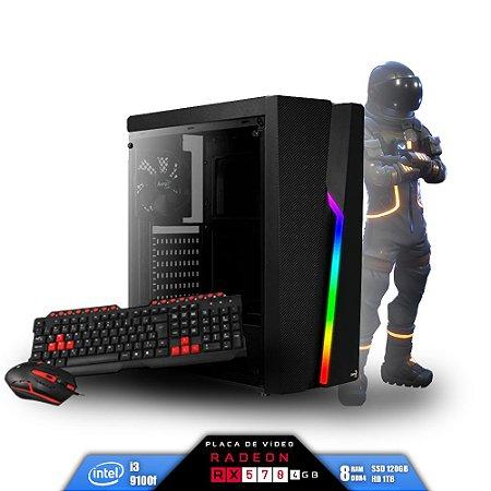 Computador Gamer V-Gamer Astrix - Intel i3 9100f -H310 - 8GB DDR4 - 1 Tb HD - SSD 120Gb - RX 570 4Gb - 430w - Gabinete Bolt