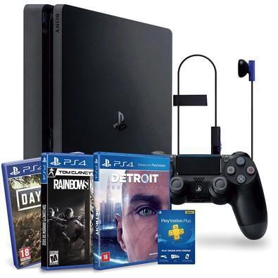 PS4 de 1 TB - Bundle com 3 jogos (R6, Days Gone, Detroit)