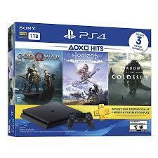 Playstation 4 Slim 1Tb - Ps4 - Play 4 - Kit 3 Jogos (God of War, Horizon, Shadow of the Colossus)