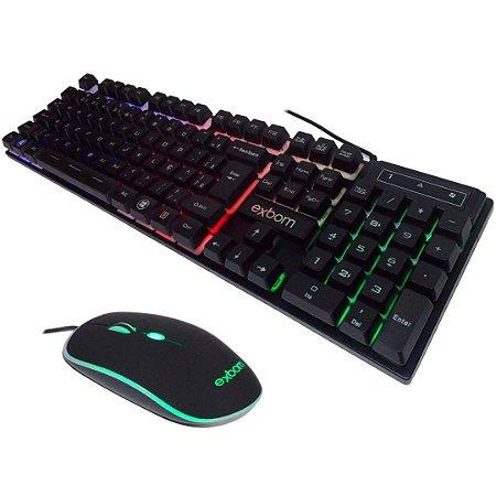 KIT GAMER TECLADO + MOUSE C/FIO LED RGB -BK-G550