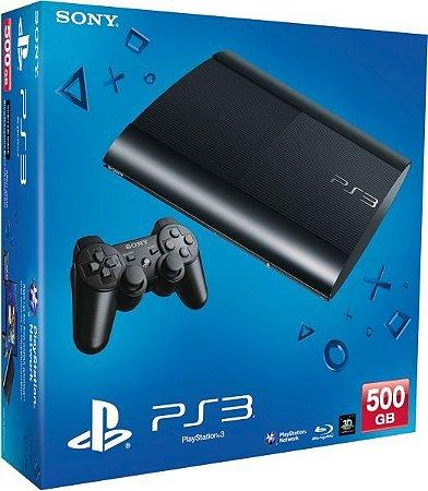 Playstation 3 500GB Super Slim - PS3 - Play 3 / 52 jogos na memória